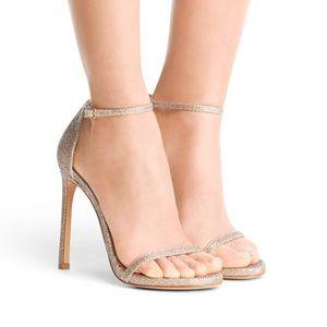 Stuart Weitzman Nudist Sandal in Platinum Lamé